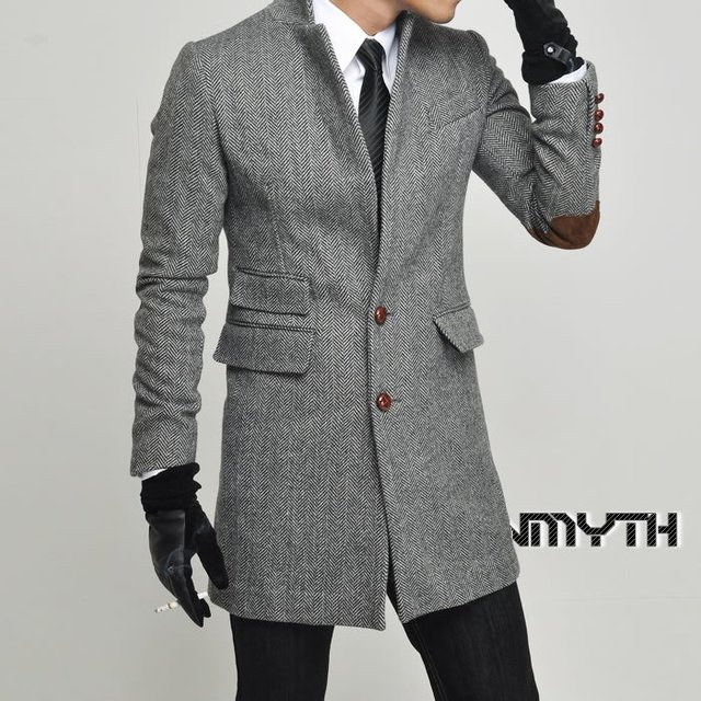 Men myth two color stripe buckle slim lambdoid wool coat casual ...
