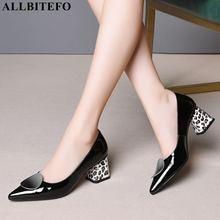 Allbitefo leopardo impressão calcanhar de couro genuíno salto grosso sapatos das senhoras do escritório alta qualidade sapatos femininos salto alto