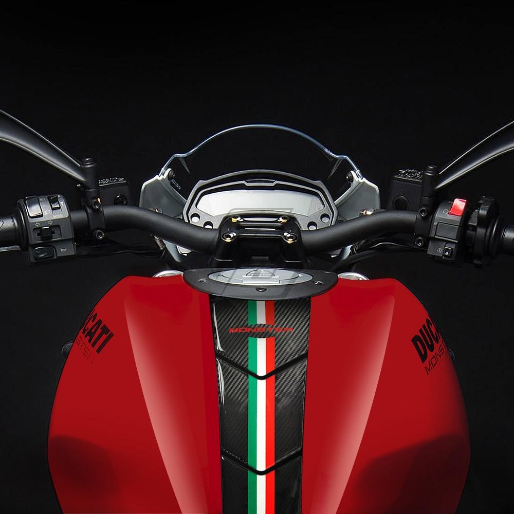 resina 3d olhar de carbono da motocicleta tanque almofada protetor oleo adesivo caso para ducati monster