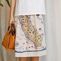 Women's Spring Summer Fashion Modern Map Printed Empire Knee Length A Line Skirt