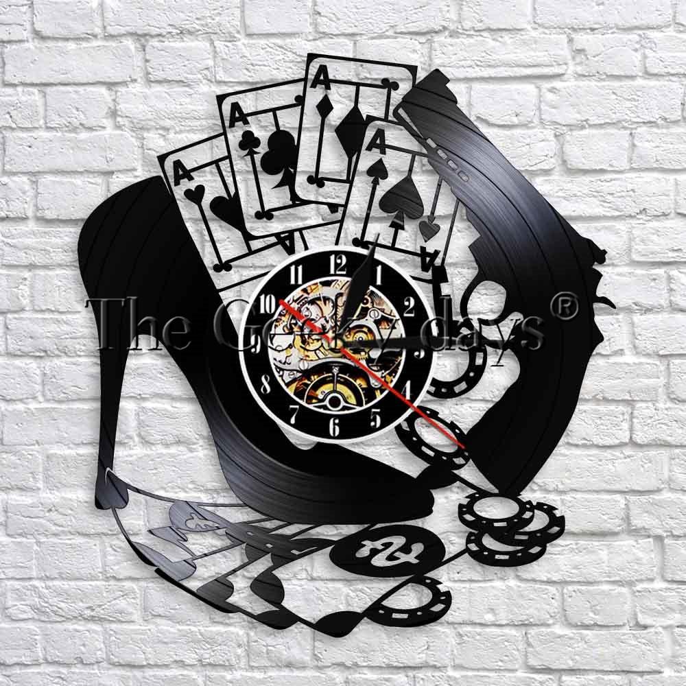 High Heel Poker Wall Clock Modern Design 3D Wall Art Decor For Gambling House Creative Vinyl Record Wall Watch Unique Gifts