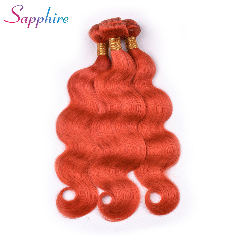 SAPPHIRE Brazilian Human Hair Bundles Body Wave 3 Bundles Human Hair Extensions Remy Per-Colored Virgin Hair Dark Orange Color