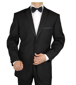 Custom Made Black White Groom Tuxedos Slim Fit Two Buttons Men's Wedding Suits Groom's Suits 2 Piece Business Suits Jacket pants