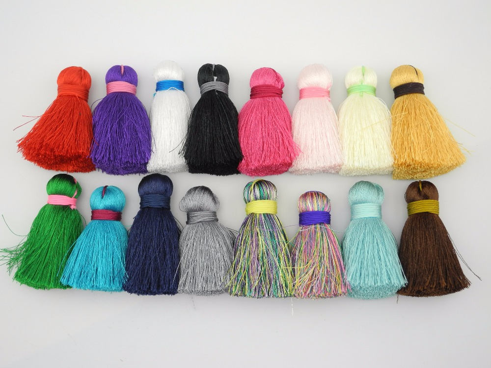 18 Colors--10pcs/Lot  2.2''(5.5cm) Big Size Soft Silk Tassels for Key Chain Earring  Necklace Jewelry