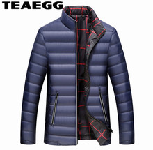 TEAEGG 90% White Duck Down Parka Mens Down Winter Coats Warm Mens Jackets Plus Size 6XL 7XL Stand Collar Man Down Jacket AL708