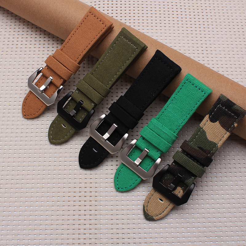 Quality Canvas and Leather Watchband 24mm watch band Camouflage Canvas watch Strap For Mens canvas men s watchband for diesel watches 26mm silver buckle watch strap for male casual canvas watch band watchstrap for diesel