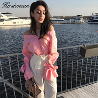 Hirsionsan 2017 New Autumn Long Sleeve Blouse Shirt Elegant Lace Up Bow Pink Women Blouses Sexy