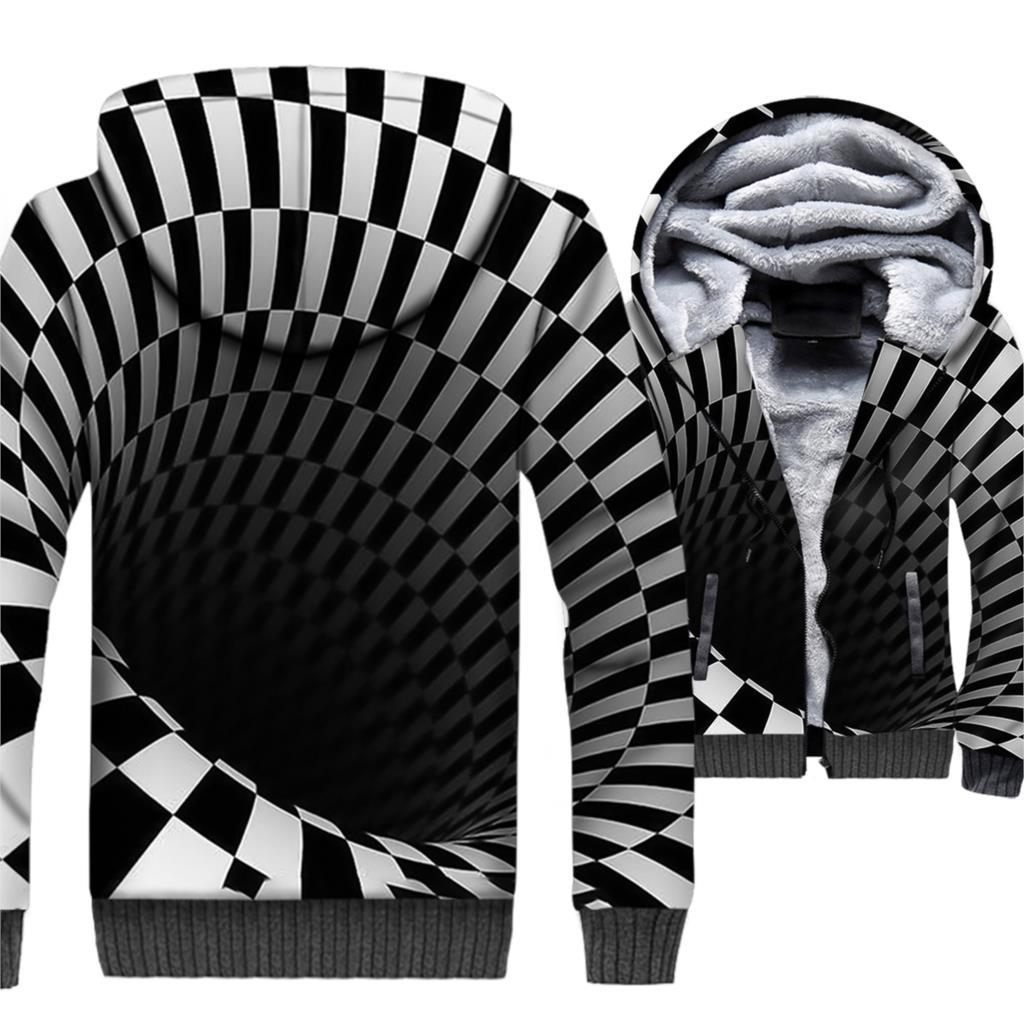 Marque vêtements 2018 hiver épais Hoodies Hip Hop 3D Sweatshirts Harajuku Unsiex noir blanc Vortex veste Streetwear Zipper Coat