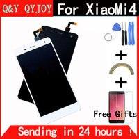 Q & Y QYJOY Dokunmatik Ekran Cam Ve LCD Ekran Digitizer Meclisi Için Xiaomi Mi4 M4 Akıllı Telefon Beyaz/siyah Renk ile çerçeve