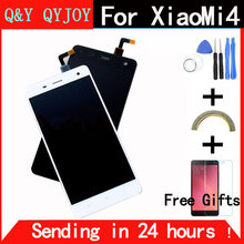 Q & Y qyjoy Сенсорный экран Стекло и ЖК-дисплей Дисплей планшета Ассамблеи для Xiaomi Mi4 M4 смартфон Цвета: черный и белый с рамкой