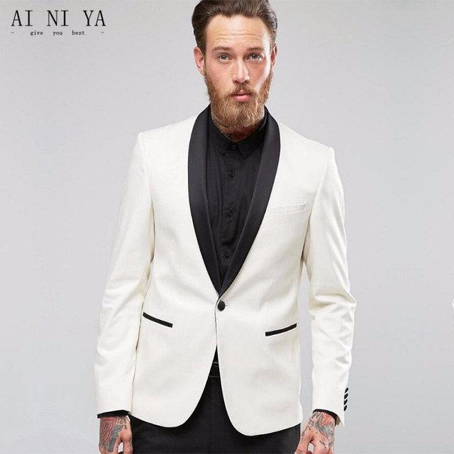 Fashionable men\'s suits Ivory Jacket Black Pants Men Suits Groom ...