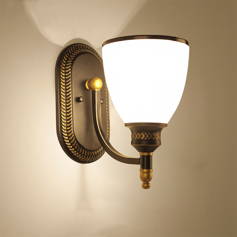 Retro vintage chinese wall lamp bedroom bedside stair aisle glass wall light living room balcony corridor light wall sconce bra