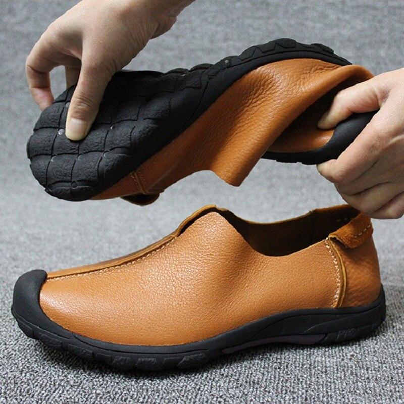 Automne Hommes Chaussures Fond 38 De 1 Des brown Black 2 Tailles Vache En 2019 Décontracté Paresseux Mâle Printemps 44 Mou Décontractées Cuir Peau 100 Otqq5X
