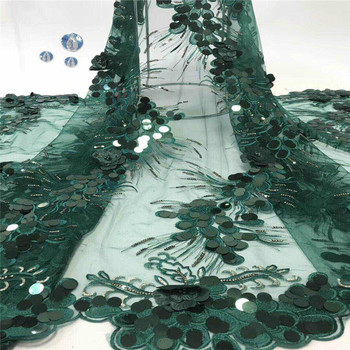 Unique beads Design African Sequins Net Lace Fabric High Quality green Nigeria Indian Embroidery Guipure Mesh Gold Sequined Lace