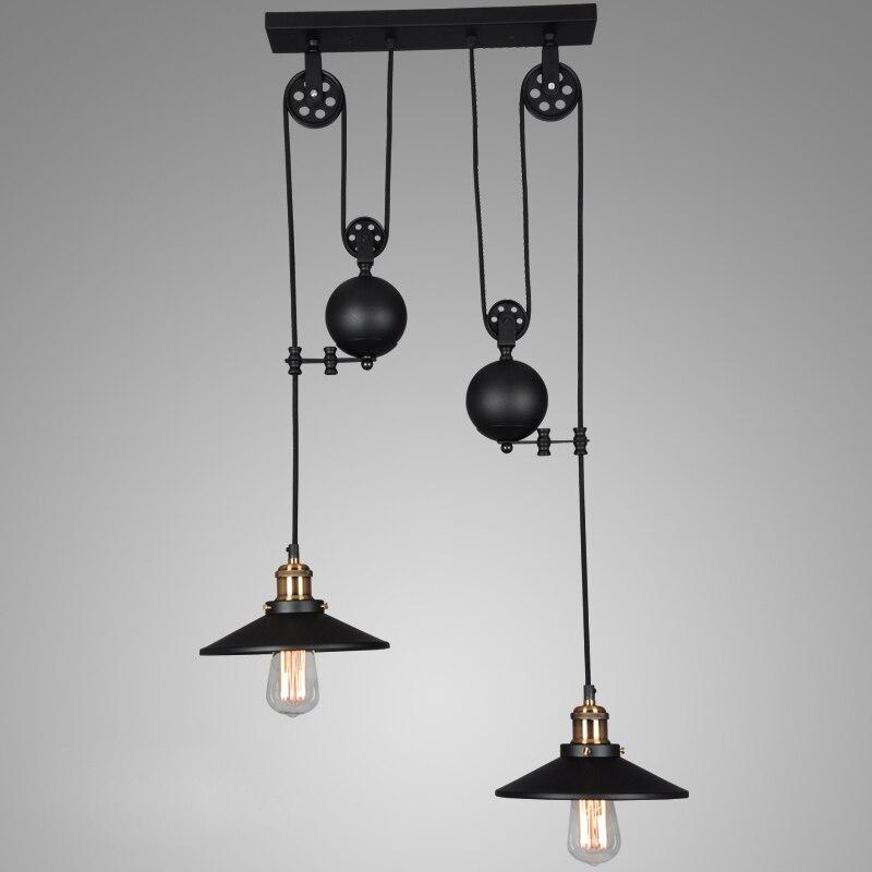 Loft vintage black Iron Pulley pendant lights Bar Kitchen Home Decoration E27 Edison Light Fixtures
