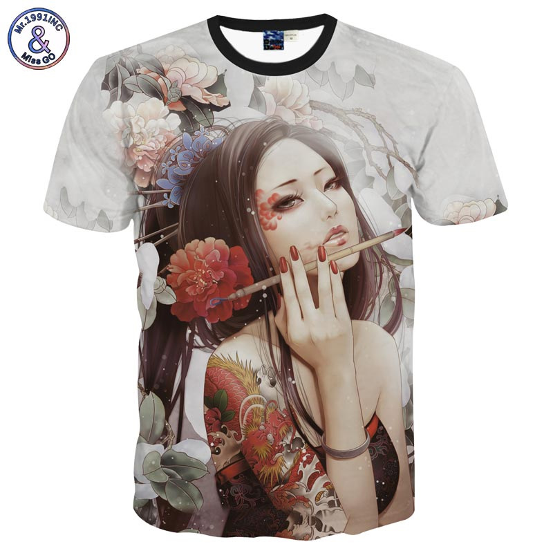 Mr.1991INC Classic New Fashion men's 3D t-shirt funny printed Classical sexy tattoo beauty flowers top tees 3d Tshirt DT31
