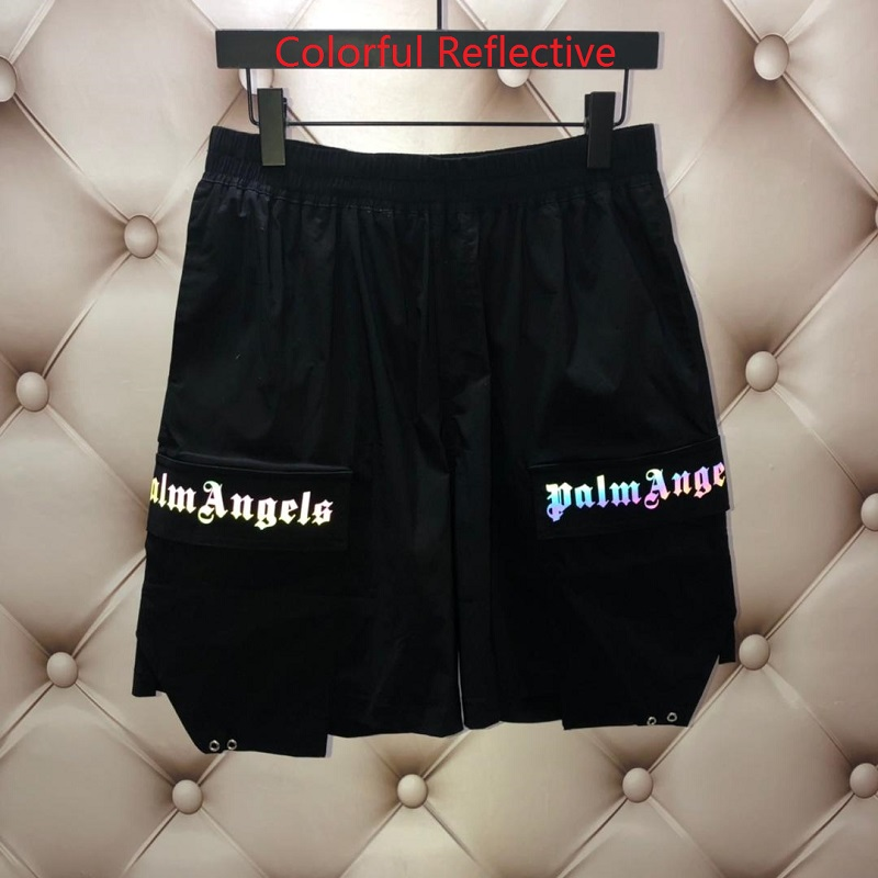 New Palm Angels Shorts Men Women Colorful Reflective Shorts Ice Wire Fabric Sweatpants Joggers Summer Beach Palm Angels Shorts