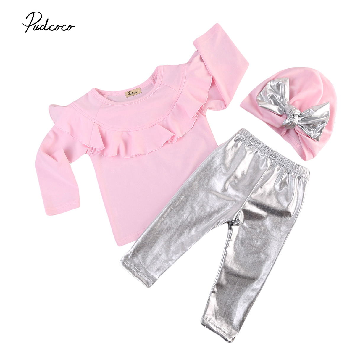 Pudcoco Newborn Infant Baby Girl Ruffle Tops Sweatshirt Long Sleeve T-Shirt Silver Leggings Pants Hat Outfits Set Winter Clothes floral baby girl clothing set newborn baby rose pink tops long sleeve bodysuit pants 2017 bebes outfits infant girl clothes set