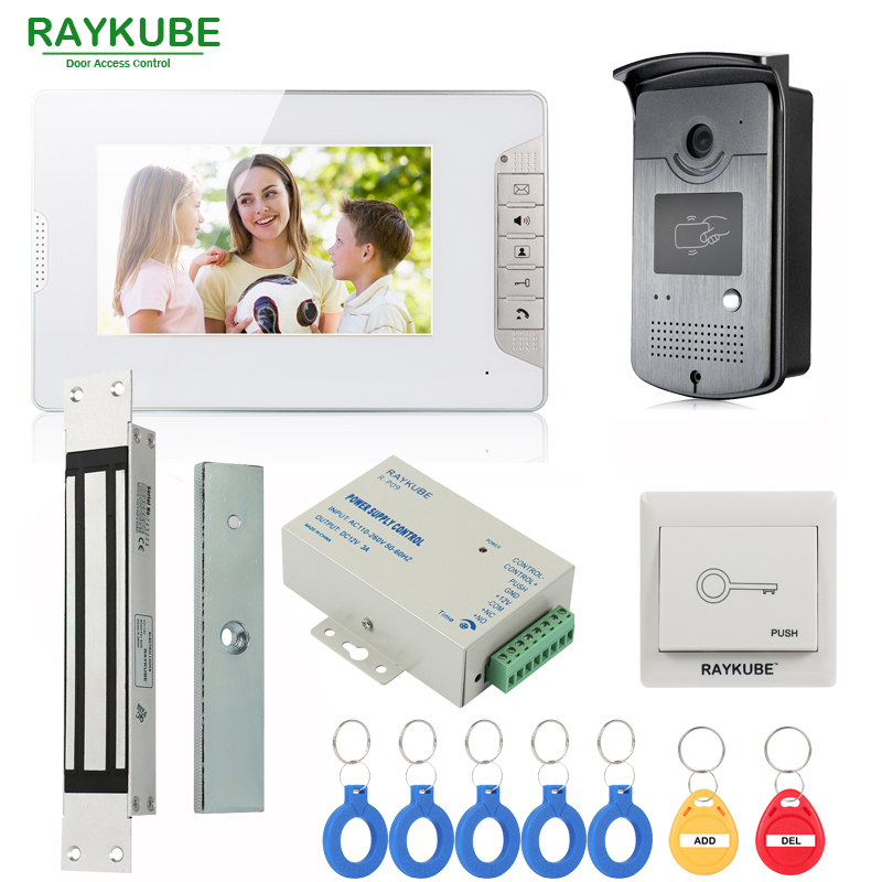 RAYKUBE Wired Video Intercom Door Phone With 280kg Magnetic Lock Inset Type + 7 Inch LCD Monitor + RFID Reader & Camera raykube wired video door phone intercom entry system 7 inch lcd monitor rfid reader