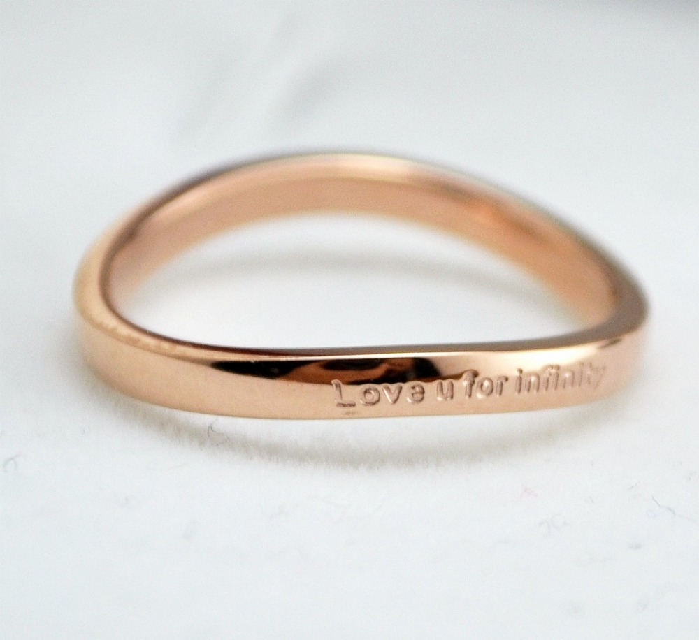 bfq love u for infinity letter rings for women girl fashion rose gold color ring personality curved ring lovers rings aneis