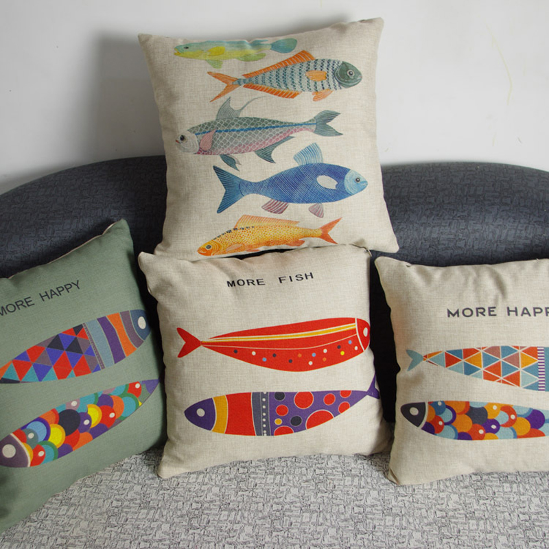 Colorful sea animal fish pattern cotton linen cushion for Fish throw pillows