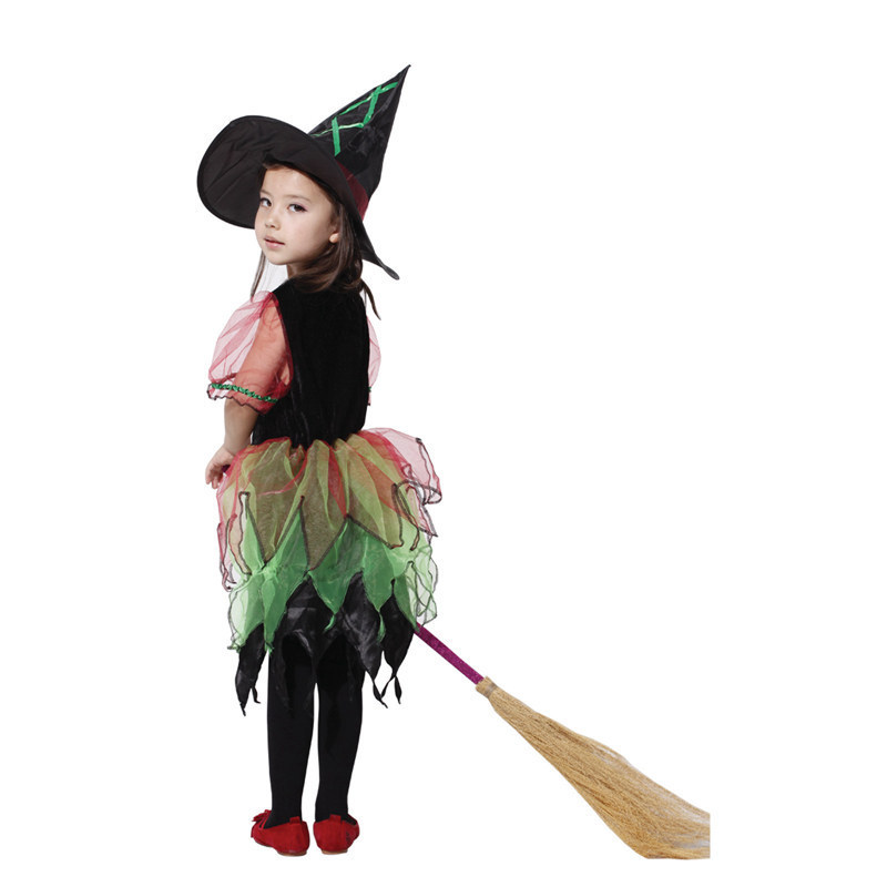 hot sale funny halloween costume for kids new naughty childrens clothing cosplay stage girls dress witch hat gauze suit yw011 in girls costumes from