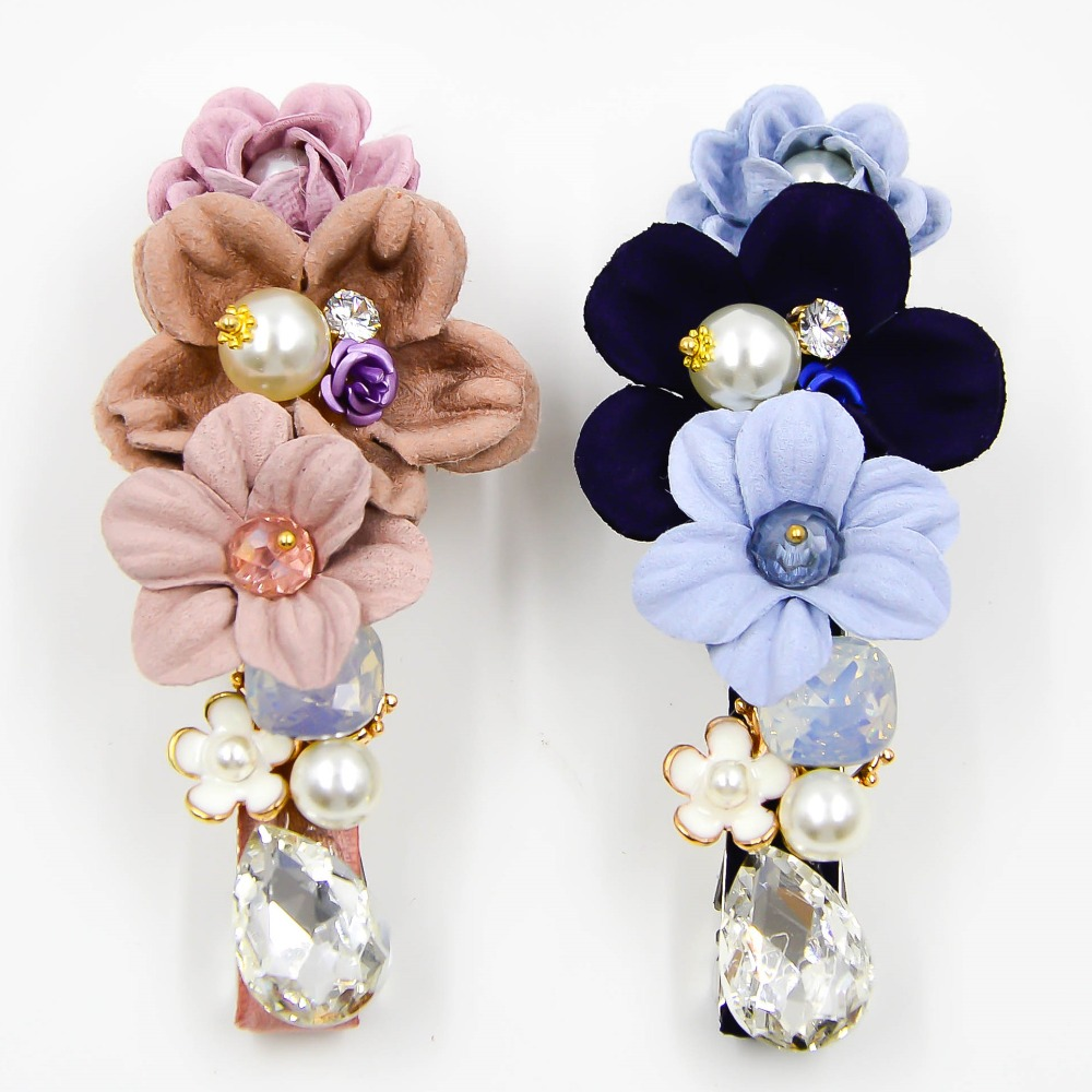 Colorful Silk Flowers Bloom Barrettes Fine Hair Clips Claw For Women