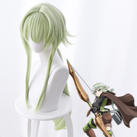 Goblin Slayer High Elf Archer Light Green Synthetic Hair for Adult Cosplay Halloween Wig