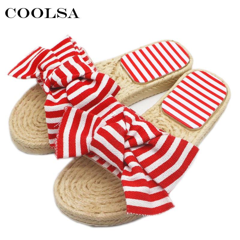 Coolsa New Summer Women Bow Slippers Bowknot Stripe Sandals Flat Non Slip Bathroom Slides Indoor Flip Flop Casual Beach Slippers