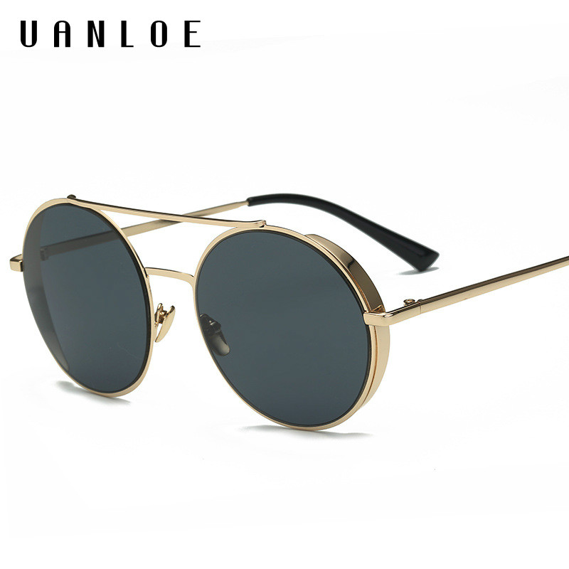 UANLOE 2017 New Arrival Vintage Aviation Sunglasses Twin Beam Metal font b Frame b font Round