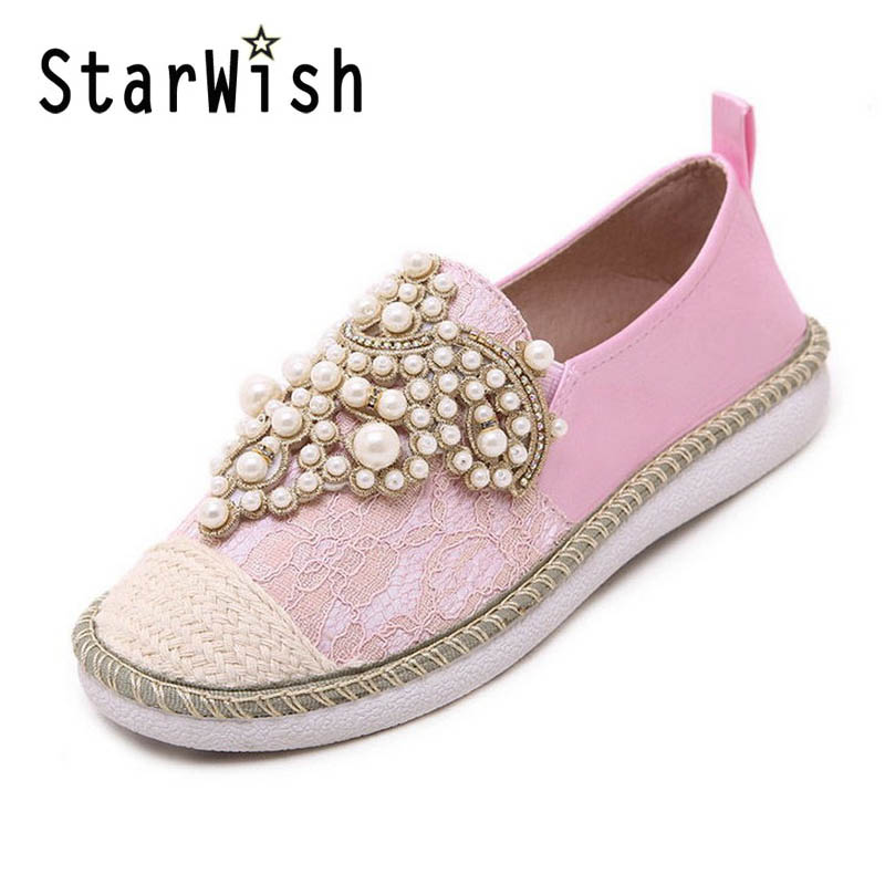ФОТО Flat with Loafers Woman Cute Hemp Lace Patchwork Flats Fashion String Bead Spring Summer Shoes Woman Plus Size 35-40 Flats D41