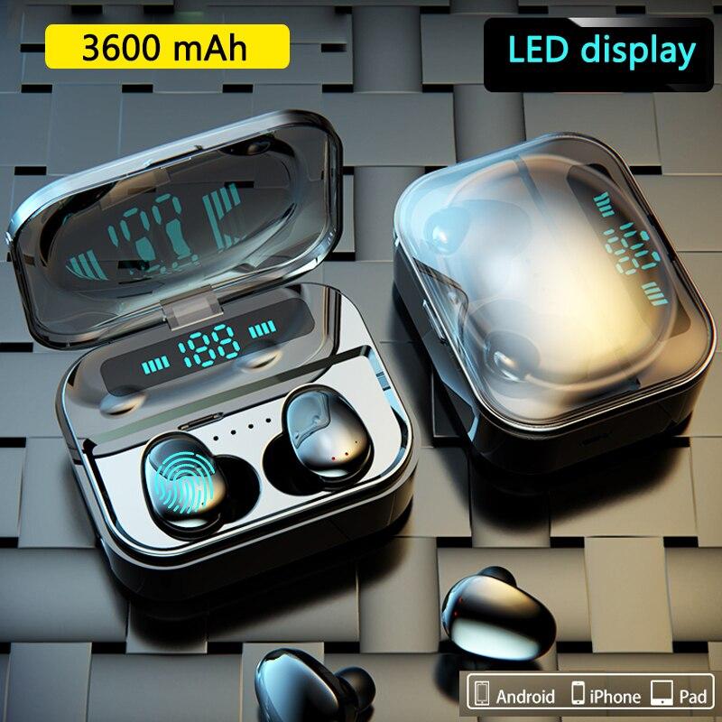 Touch TWS Wahre Drahtlose Ohrhörer Bluetooth Kopfhörer Mini TWS Wasserdichte Headfrees mit 3600 mAh Power Bank Für Alle Telefon
