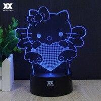 키티 고양이 3D 램프 사랑 로맨틱 나이트 라이트 LED 장식 테이블 램프 USB 다채로운 색상