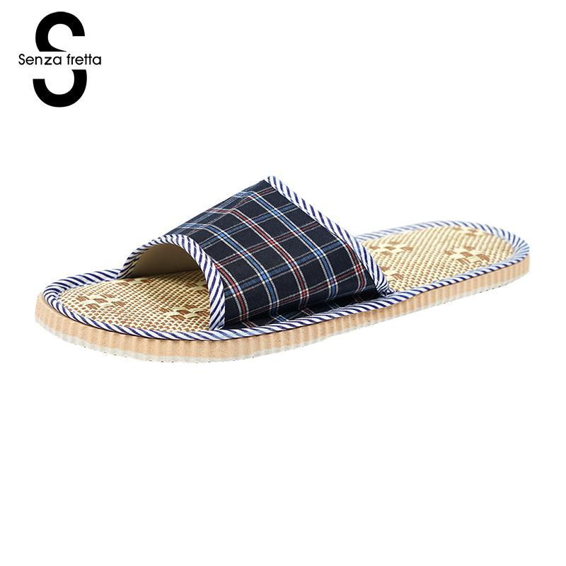 Senza Fretta Hot Sale Lover Slippers Women Men Home Slippers Plaid Linen Home Slippers Indoor Bedroom Sandals Couple Floor Shoes senza fretta men shoes home linen slippers couple flat slippers hemp simple breathable soft floor slippers men slippers big size