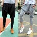 Новый Повседневная марка Хип-Хоп Танец Большие промежности Брюки Черный Белый мужской мешочки гарем Брюки мужские узкие спортивные штаны