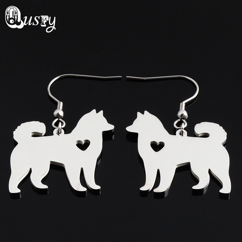 Trendy French Bulldog Boston Terrier Akita Cocker Spaniel Doberman Pinscher Yorkie Dog Earrings Drop Stainless Steel Jewelry