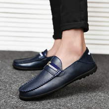 Summer Mens Loafers Size 11 Breathable Shoe Casual Male Blue Shoes Adult Split Leather Men Dress