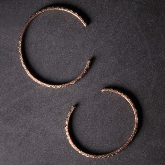 Bracelet rustique Martelé cuivre Viking fait main  4