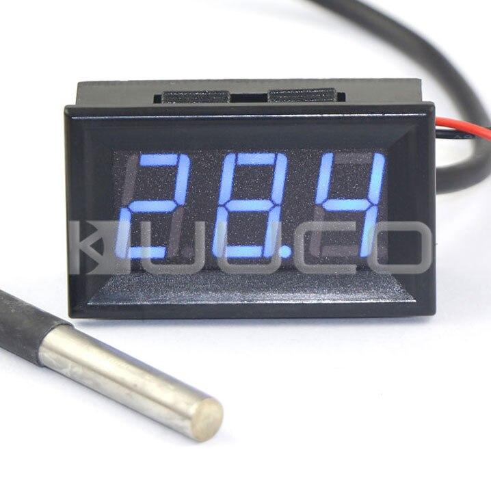 Цифровой Измеритель постоянного тока 12 В 24 В термометр-55 ~ 125 Цельсия синий светодиод Температура метр/тестер для car/дом любимчика/Лаборатори...