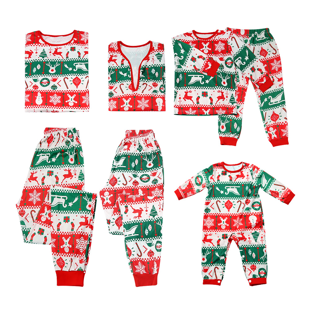 Happy Red And Green Christmas Pajama Set For Autumn And Winter Parent-child Leisure Festival Cute Family