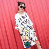 Knee Length Long T Shirt Women Loose Fashion Printed Street Style Graphic Tees Girl Harajuku Cute