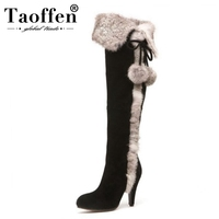 TAOFFEN Women High Heel Boots Real Leather Woman Shoes Plush Fur Over Knee Boots Korean Fashion Shoes Woman Footwear Size 34 40