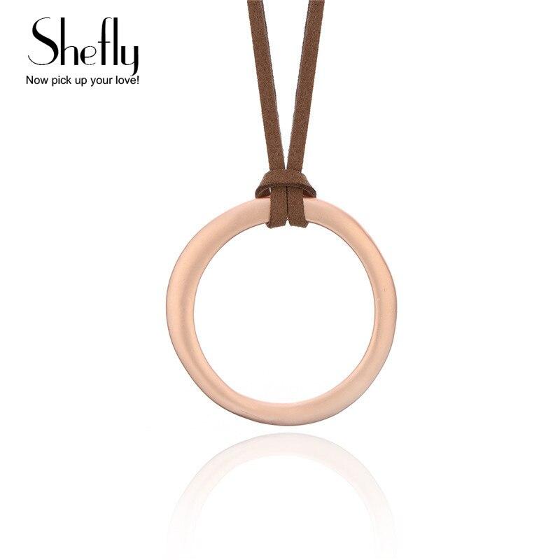2018 минималистский круг ожерелье с черного и коричневого цвета из натуральной кожи ручной работы бижутерии подарок для женщин