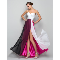 TS Couture A Line Princess Sweetheart Floor Length Chiffon Formal Evening Military Ball Dress With Ruching