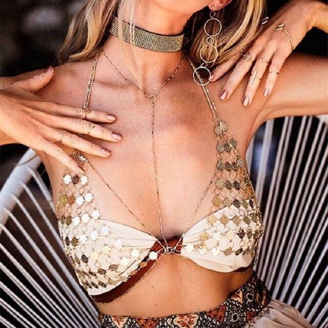 Trendy Copper Rose Pattern Link Chain Neckalce Chest Women Charm Body Bra Bikini Beach/Club Breast Body Harness Jewelry