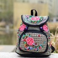 2016 New National canvas embroidery Ethnic backpack handmade flower Embroidered School Travel Bags schoolbag backpacks mochila