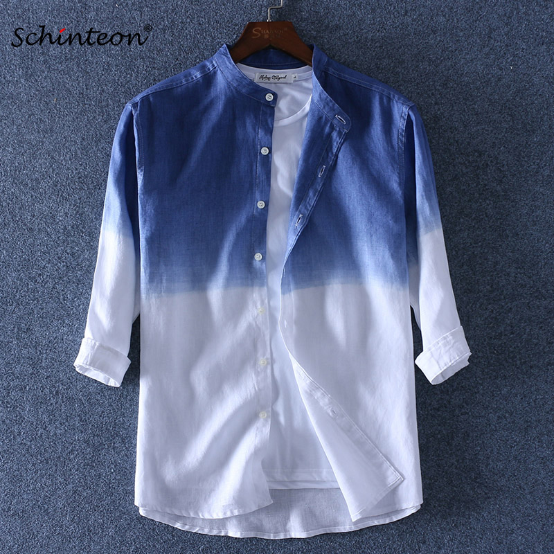 Schinteon 2019 Gradient Men 100% Linen Shirt Three Qurarter Sleeve Summer Slim Stand Collar Comfortable Shirts