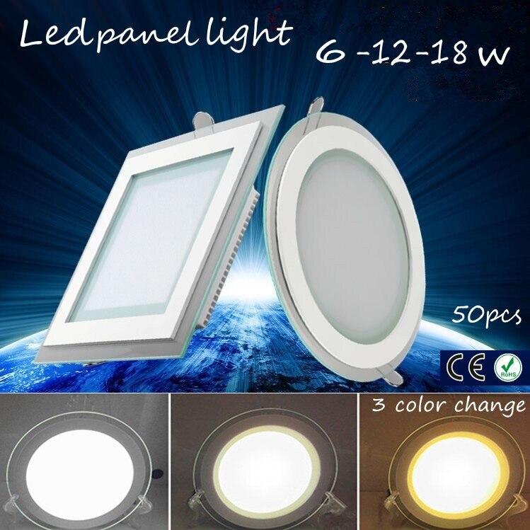 50pcs 3 Color Change Glass Led Panel Light Led Ceiling