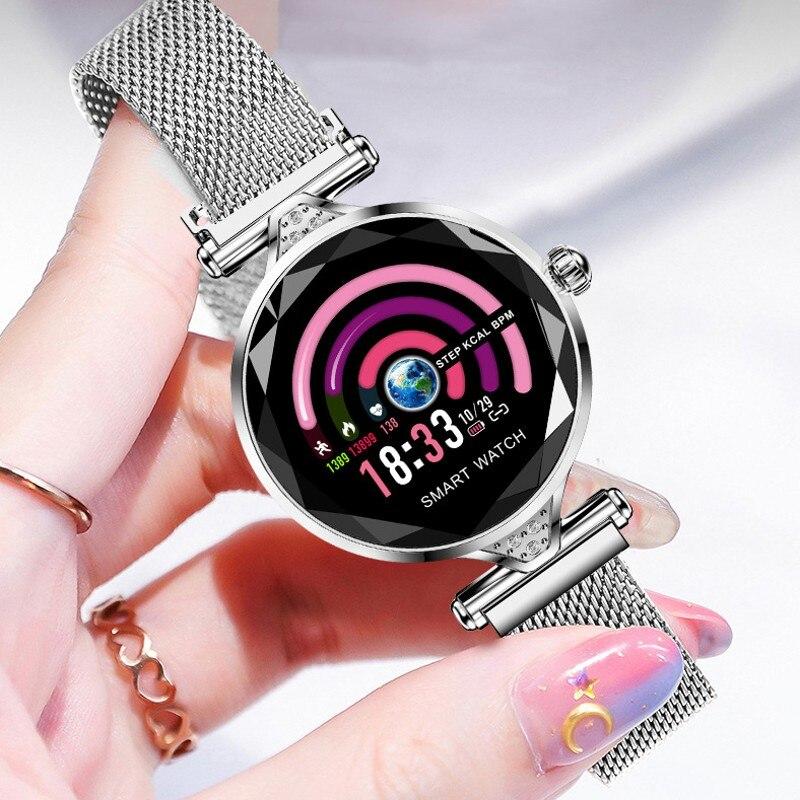 Multi função relógio de pulseira de mulher inteligente tela colorida hd relógio bluetooth freqüência cardíaca pressão arterial teste de saúde monitoramento do sono|Relógios com Pulseira| |  - title=