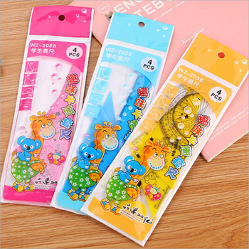 Three color optional math drawing set creative cartoon set ruler student four-piece giraffe drawing ruler learning stationery
